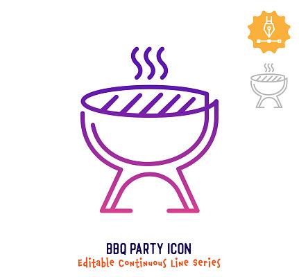 BBQ Party Continuous Line Editable Stroke Line