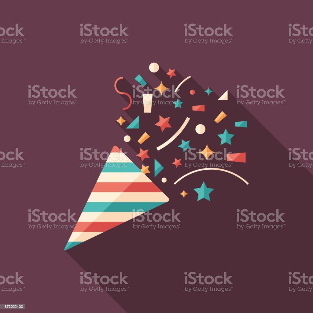Galletas fiesta icono cuadrado plano con largas sombras. - ilustración de arte vectorial