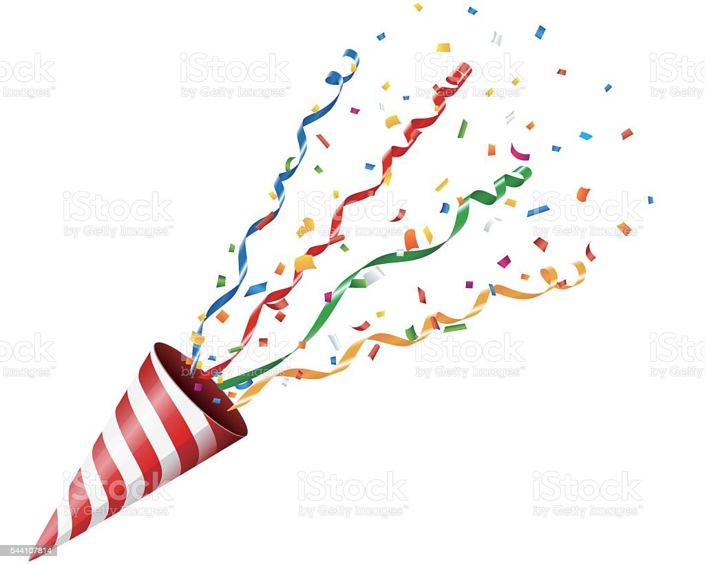 Party cracker with confetti and streamer on white background vector art illustration