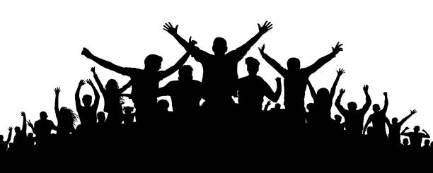party crowd menschen silhouette - fussball fan stock-grafiken, -clipart, -cartoons und -symbole