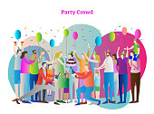 Party crowd vector illustration. Friends and family together in birthday celebration. People with positive emotions, party hat, cake, balloons, champagne and confetti. Kids on shoulders and hands up.