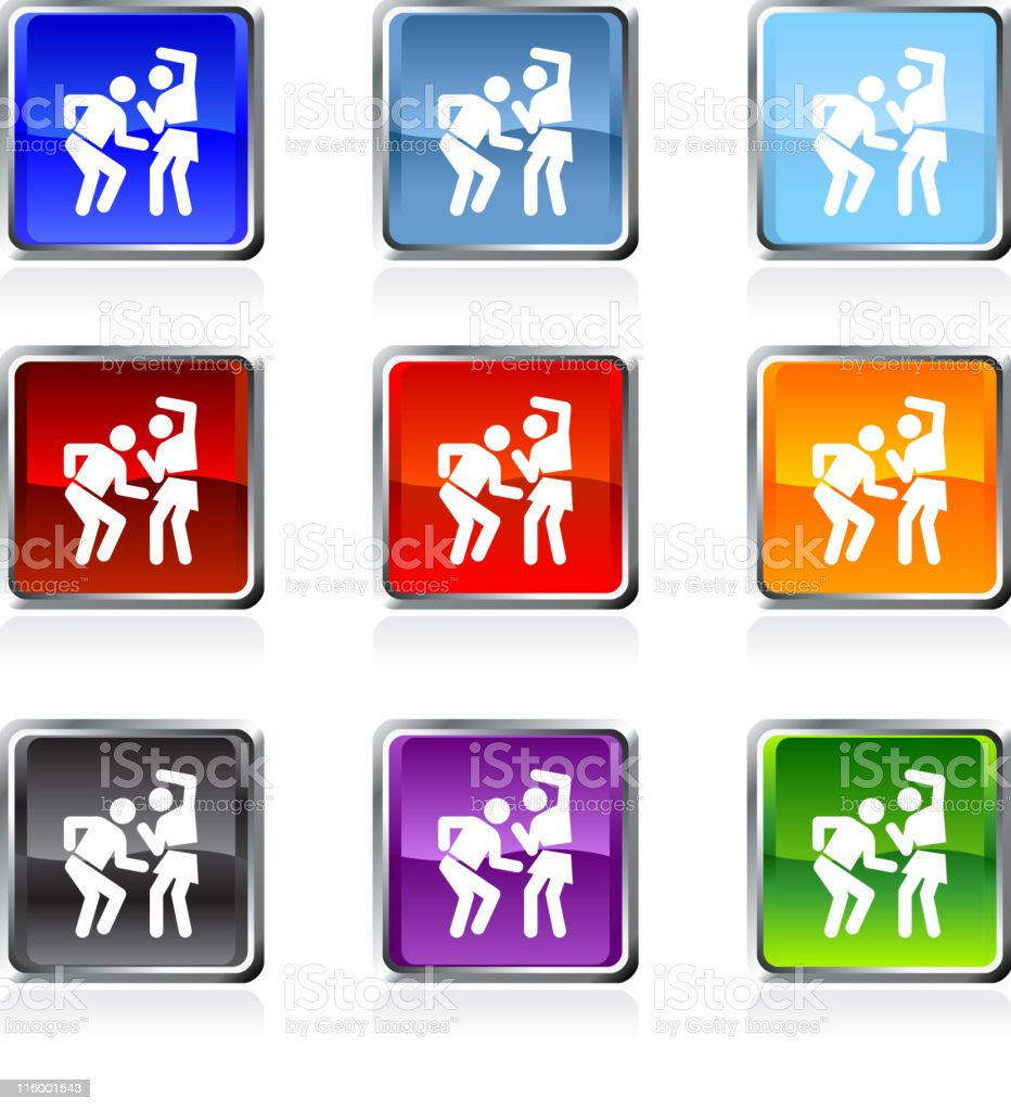 Party Dancing icon in nine colors vector art illustration