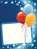 Party decoration with copy space, balloons and stars