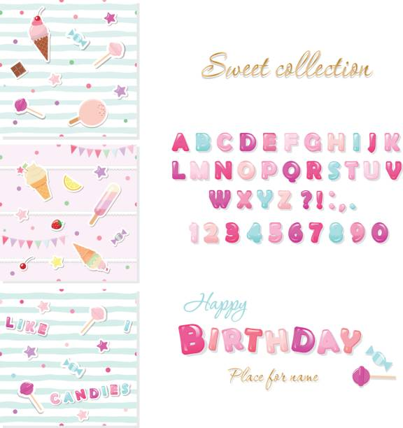 Party design elements set. Candy font design and festive seamless patterns with sweets. vector art illustration