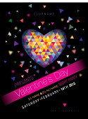 St. Valentine's DJ Party Flyer/Poster, Vector Template Illustration