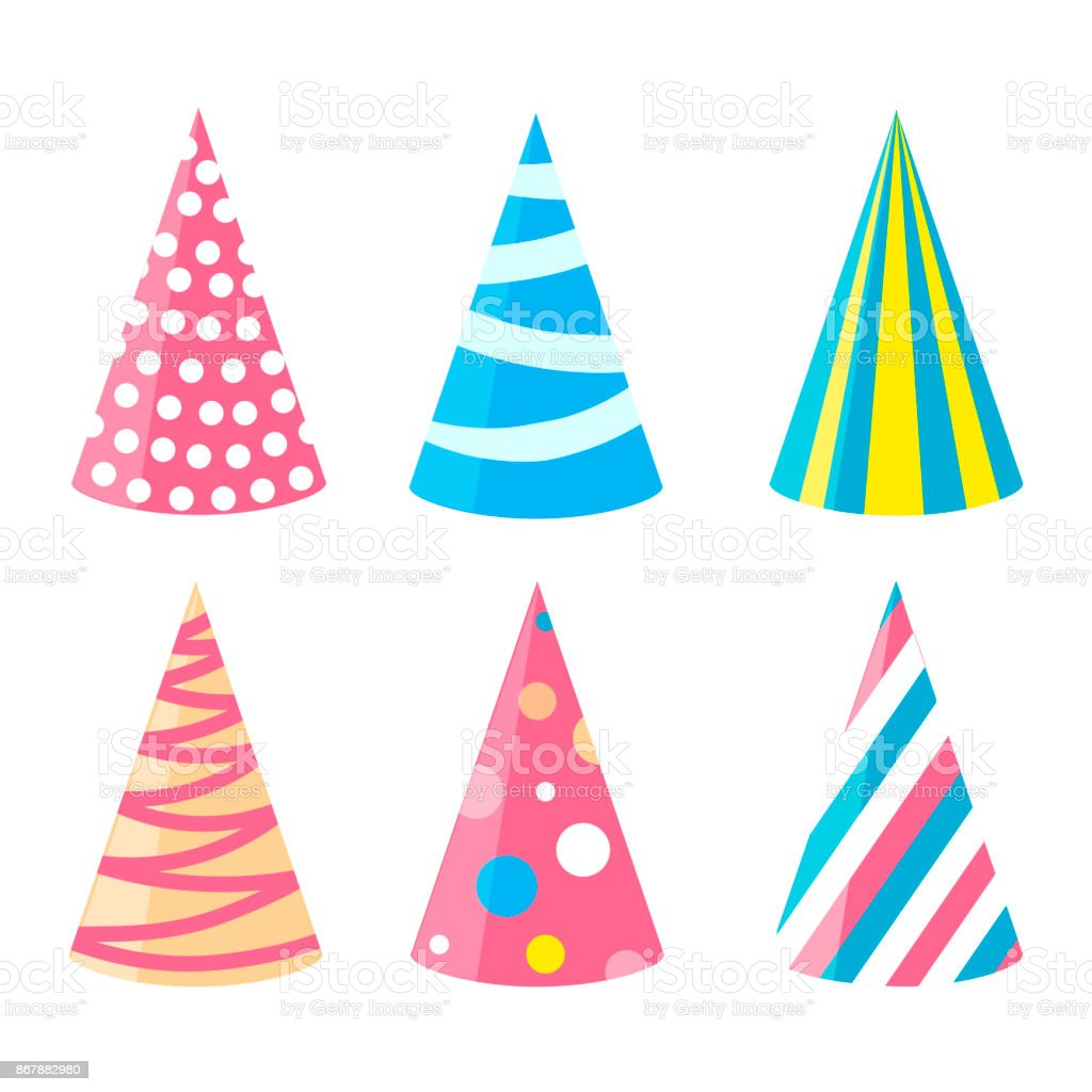 Party different hats collection for a birthday celebration, new year and other holidays. vector art illustration
