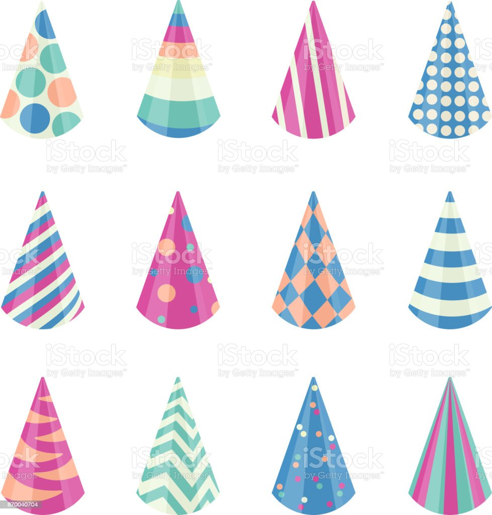 Party different hats collection for a birthday celebration, new year and other holidays. Vector illustration vector art illustration