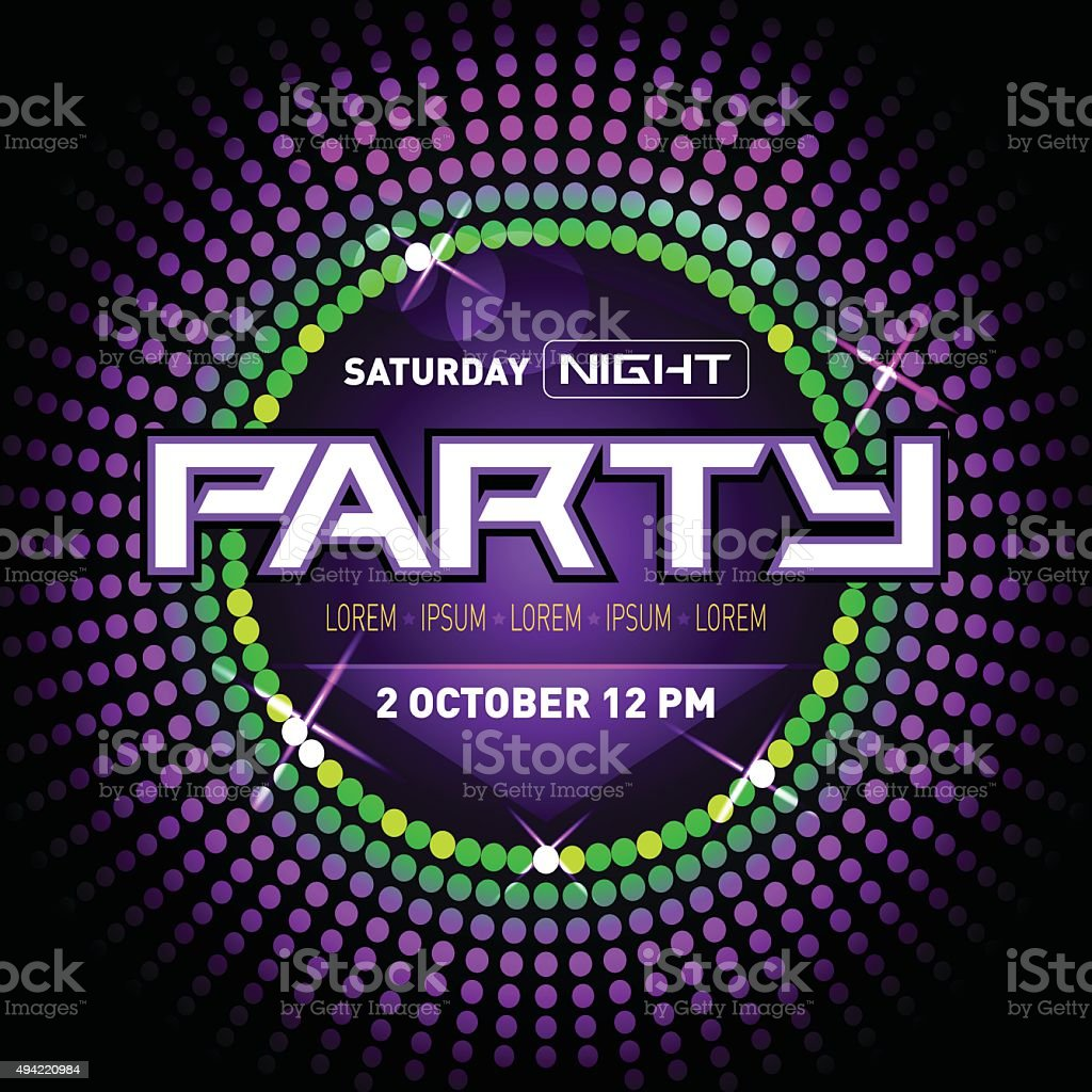 party disco club flyer template for your music nights event stock