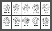 Party doodle illustration circle form on a4 paper wallpaper background line sketch style set