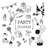 Hand drawing of cute party objects