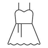 Party dress thin line icon. Female evening classic fashion cloth. Celebration vector design concept, outline style pictogram on white background, use for web and app. Eps 10