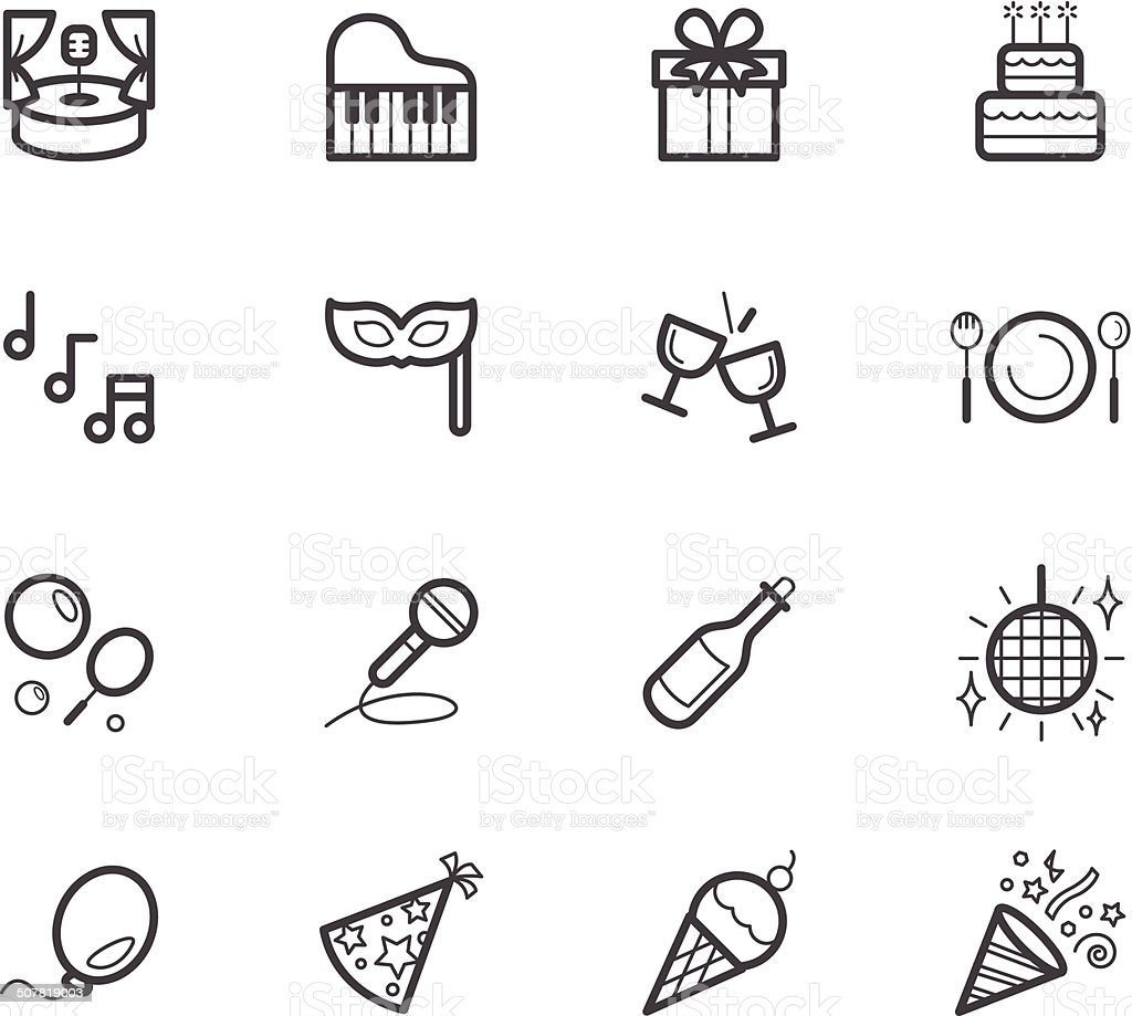 party element vector black icon set on white background vector art illustration