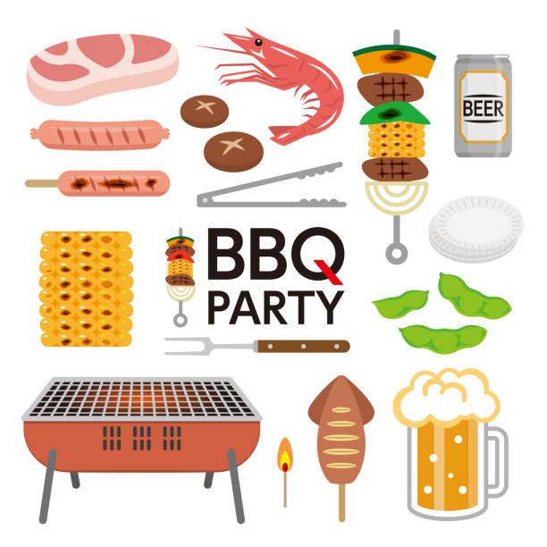 bbq-partyelemente auf weißem hintergrund isoliert. - plastikteller stock-grafiken, -clipart, -cartoons und -symbole