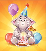 A cute little elephant with a party hat, a balloon and a birthday cake. EPS 10, everything grouped and labeled in layers.