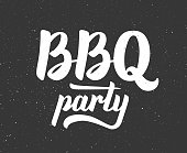White vintage BBQ party emblem on gritty black background. Close-up of isolated Barbecue party typographic label design. Vector illustration