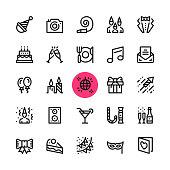 Party, entertainment, celebration line icons set. Modern graphic design concepts, simple outline elements collection. 32x32 px. Pixel perfect. Vector line icons