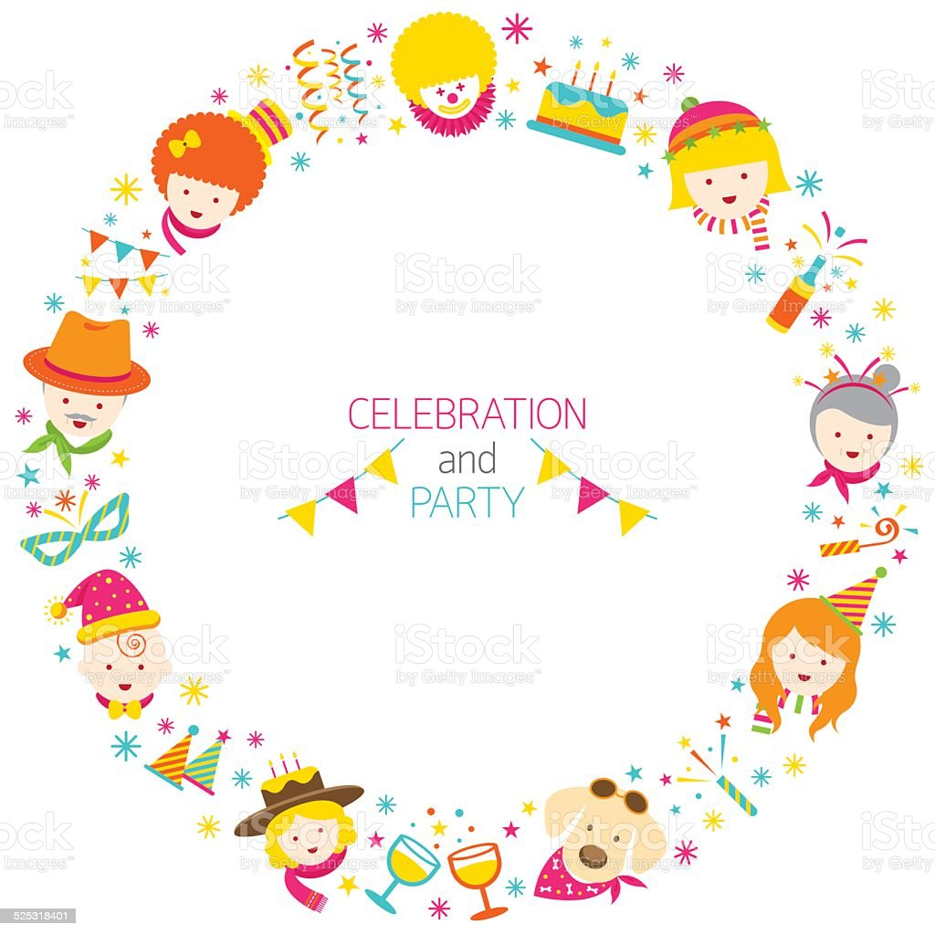 Party, Family, People Wreath vector art illustration