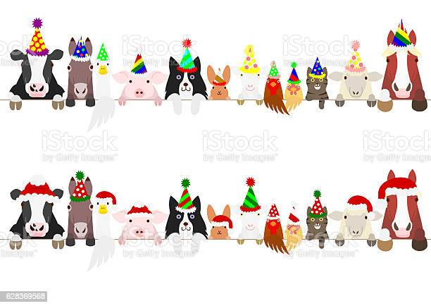 Party farm animals border set vector id628369568?b=1&k=6&m=628369568&s=612x612&h=xwqrxal4aoepb9 4chcfb9mq7hkoor dpqfq16kvi0y=