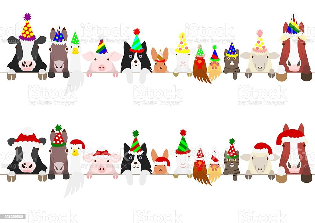 party farm animals border set vector art illustration