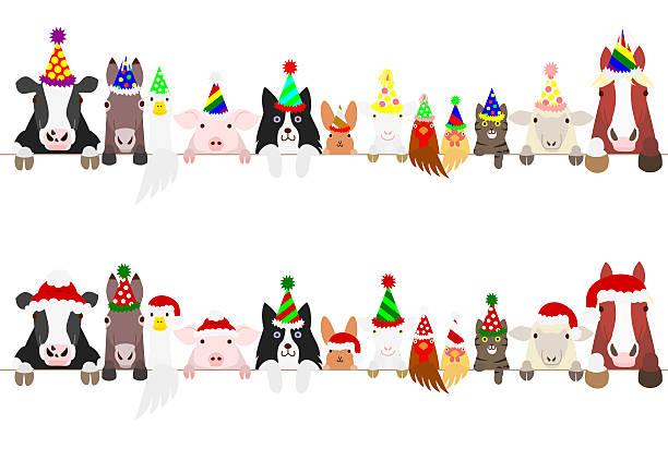 ilustrações, clipart, desenhos animados e ícones de party farm animals border set - animais da fazenda