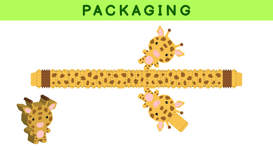 Party favor box die cut giraffe design for sweets, candies, small presents, bakery. Package template, great design for any purposes, birthdays, baby showers, pinata. Vector stock illustration.