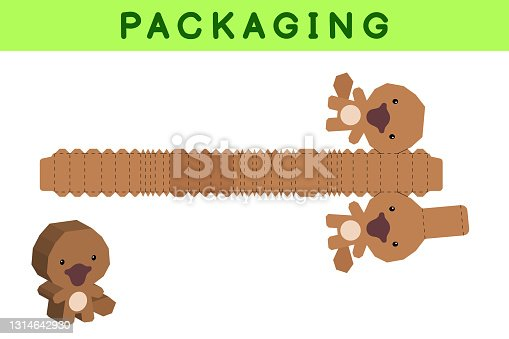 istock Party favor box die cut platypus design for sweets, candies, small presents, bakery. Package template, great design for any purposes, birthdays, baby showers, pinata. Vector stock illustration. 1314642930