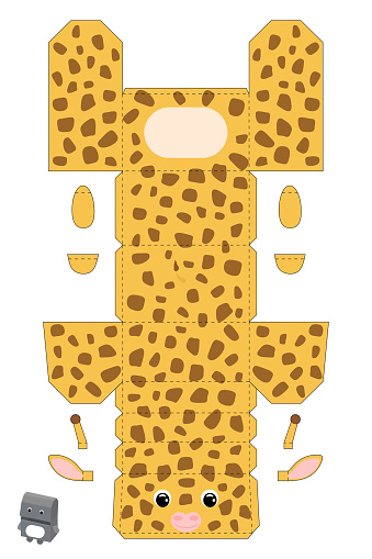 Party favor box giraffe design for for sweets, candies, small presents, bakery. Package template, great design for any purposes, birthdays, baby showers. Vector stock illustration.