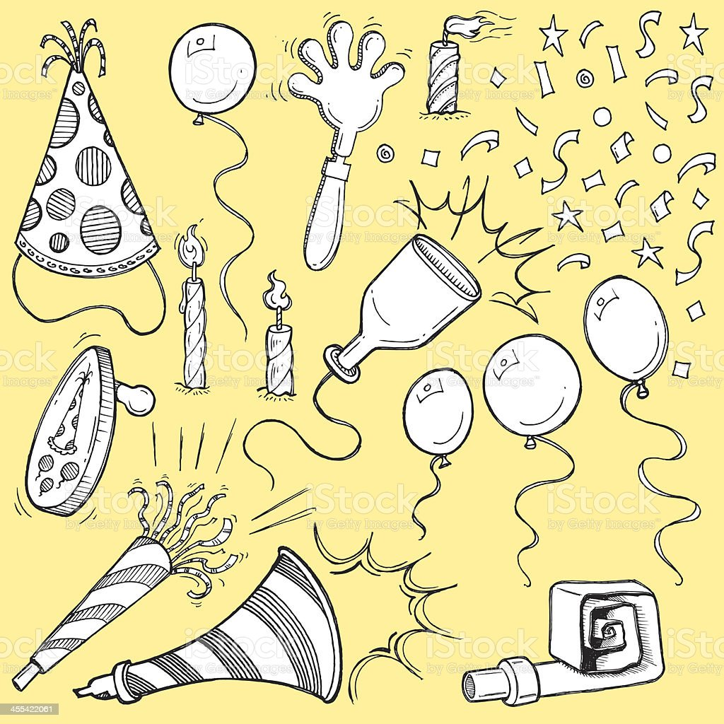 Party Favors - Noise Makers, Candles, Confetti, Balloons vector art illustration