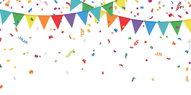 party flags and confetti - celebrations and parties background stock illustrations