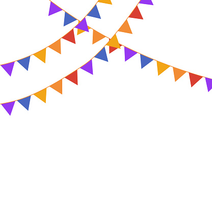 Party Flags Background on white. good for cards banners design template. copy space for text