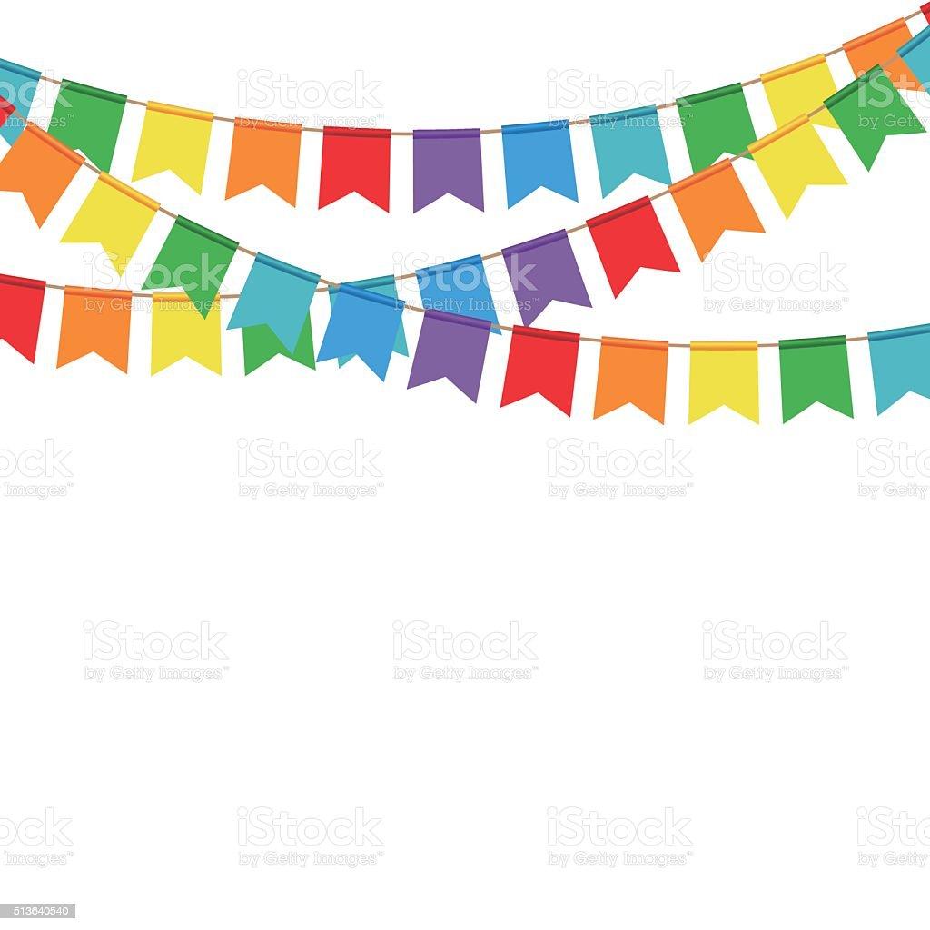 Banderas fiesta sobre un fondo blanco. Celebra bandera. - ilustración de arte vectorial
