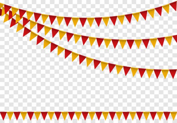 Festa de bandeiras estamenha conjunto, colorida para a arte de desenhos animados de feliz aniversário. Ilustração vetorial - ilustração de arte em vetor