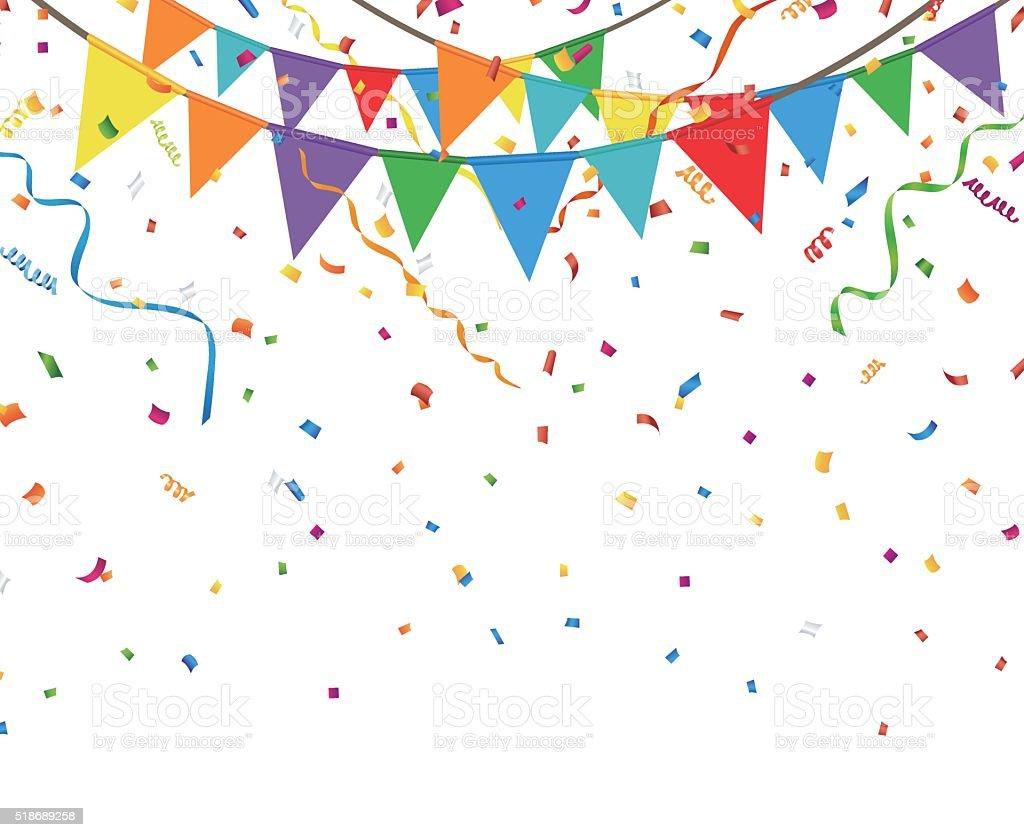 banderas fiesta con confeti y serpentina arte vectorial
