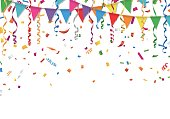 Party flags with confetti and streamer