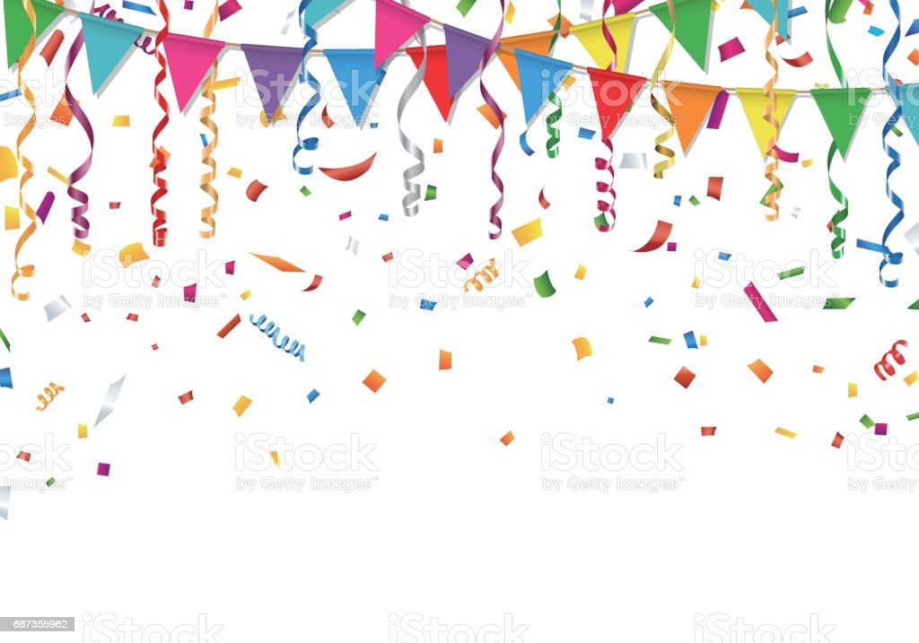 Party flags with confetti and streamer vector art illustration