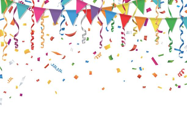 party flags with confetti and streamer - parties stock illustrations, clip art, cartoons, & icons