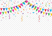 Party flags with Confetti vector