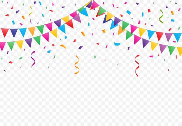 Bandeiras de festa com vetor de confete - ilustração de arte em vetor