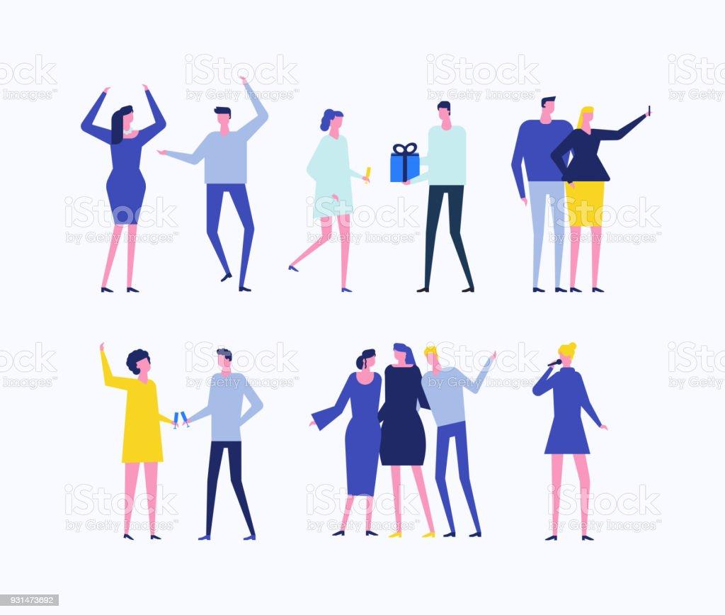 Partie - ensemble de style design plat de personnages isolés - Illustration vectorielle
