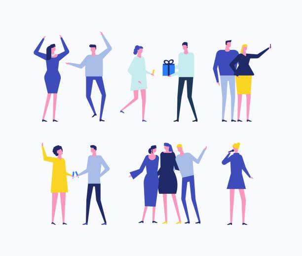 ilustrações, clipart, desenhos animados e ícones de festa - conjunto de estilo design plano de caracteres isolados - festa da empresa