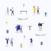 Party - flat design style set of isolated elements on white background for creating your own images. Happy cute characters celebrating an event. Garland, acoustic system, chairs, tables, balloons