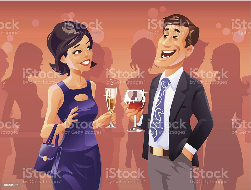 Party Flirt vector art illustration