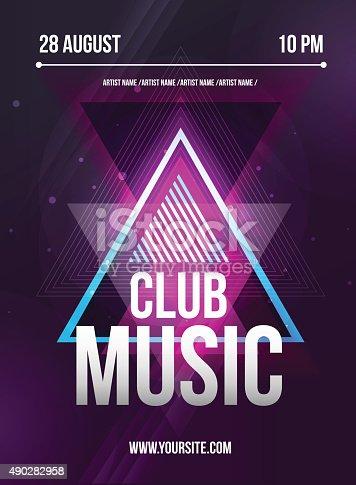 istock Party Flyer. Club music flyer. Dj lineup design. Vector template 490282958