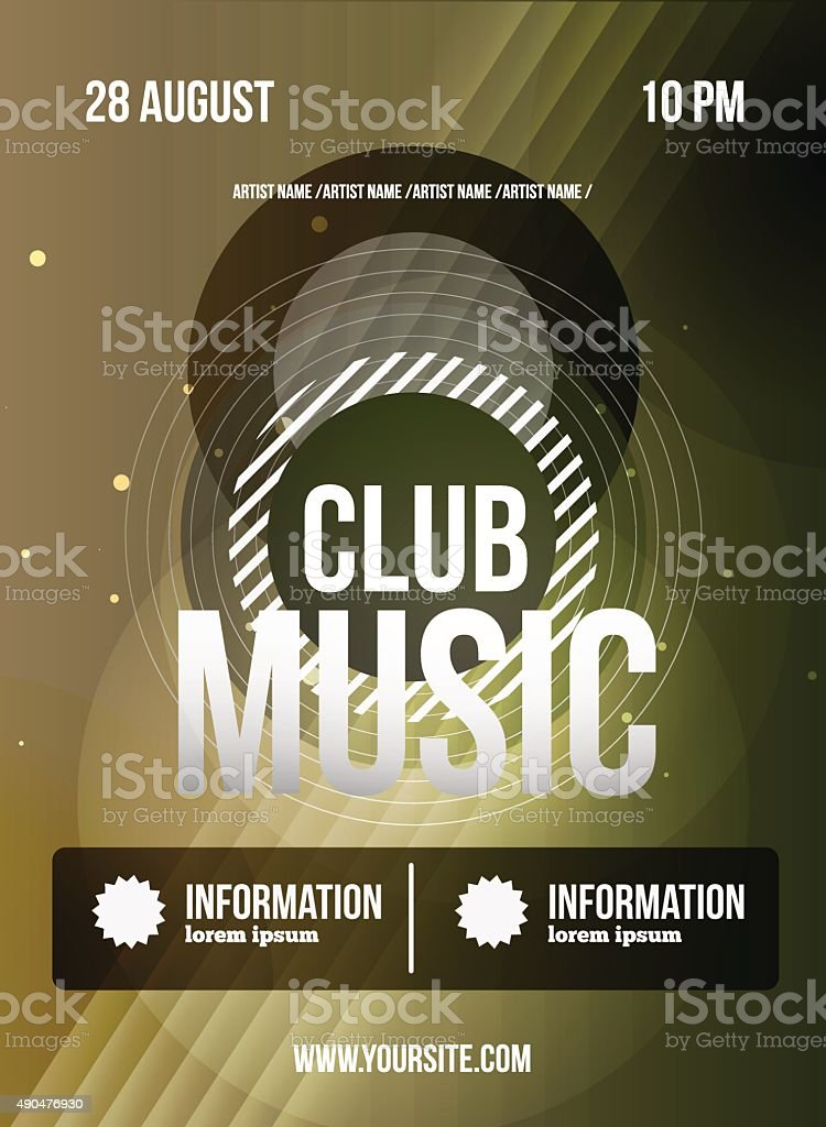 Party Flyer. Club Music Flyer. Dj Lineup Design. Vector Template  Royalty Free