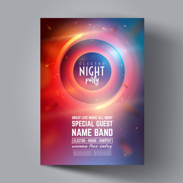 party flyer oder broschüre layout-vorlage. club party banner-design. - edm stock-grafiken, -clipart, -cartoons und -symbole