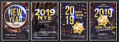 2019 Party Flyer Poster Set Vector. Night Club Celebration. Musical Concert Banner. Happy New Year. Celebration Template. Winter Background. Disco Light. Design Illustration