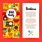BBQ Party Flyer. Flat Design Vector Illustration of Brand Identity for Barbecue Promotion.