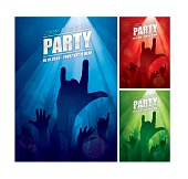 Party flyers with three colour style. Eps10 - This illustration contains transparent and blending mode objects. Hi-res JPG versions without texts are included in zip file.