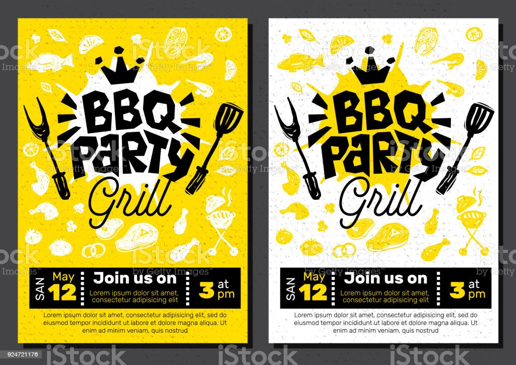 BBQ party Food poster. Barbecue template menu invitation flyer design elements spice, drinks, hand drawn elements. vector art illustration