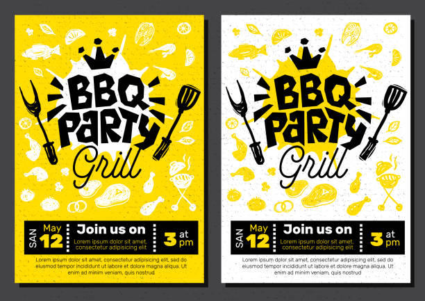 illustrations, cliparts, dessins animés et icônes de affiche de nourriture party bbq. barbecue modèle menu invitation flyer design éléments aux épices, les boissons, les éléments dessinés à la main. - barbecue